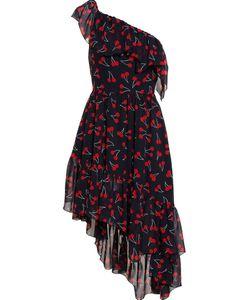 Saint Laurent   Платье Асимметричного Кроя С Принтом Вишни