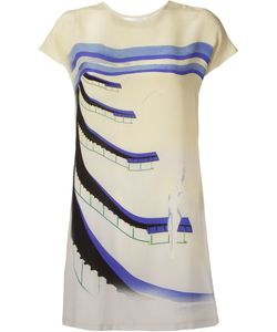 VITORINO CAMPOS | Off Silk Short Printed Dress From Featuring A Crew Neck Cap Sleeves And A Print To The Front