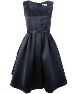 Dice Kayek   Navy Silk Flared Dress From Featuring A Square Neck A Sleeveless Design Pleated Details A Belted Waist An A-Line Shape Skirt A Straight Hem And A Back Zip Fastening