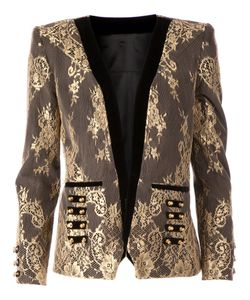 KRISTIAN AADNEVIK | And Tone Cotton Silk And Leather Lace Blazer From