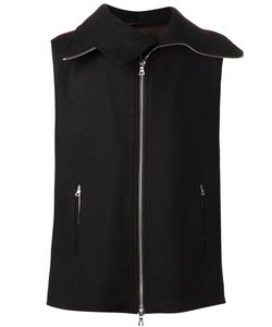 ZAM BARRETT | Backpack Vest From Featuring A Front Zip Fastening A Sleeveless Design Side Zipped Pockets An Exaggerated Collar With Zip Details A Right Lapel And A Detachable Rear Backpack