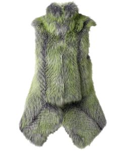 Todd Lynn | And Lime Fox Fur Nightshade Waistcoat Jacket From Featuring A Sleeveless Design A Concealed Zip Fastening A Peplum Hem A Front Slit And A High-Standing Collar