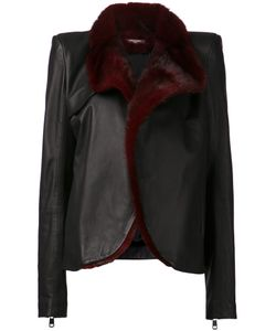 Aurelie Demel | And Burgundyy Lambskin And Fox Fur Isa Jacket From Featuring A Fur Collar An Open Front And Long Sleeves