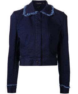 Marios Schwab | Stretch Cotton Frayed Edge Denim Jacket From Featuring A Peter Pan Collar A Concealed Front Fastening Long Sleeves Button Cuffs And A Cropped Length