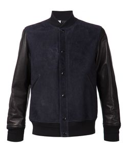 N. Hoolywood | Navy And Leather Blend Bomber Jacket From N