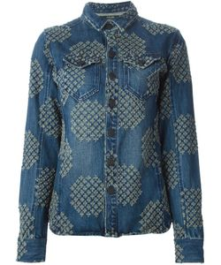 Sibling | Indigo Cotton Distressed Pattern Denim Jacket From