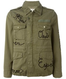TU ES MON TRESOR | Olive Cotton Word Applique Military Jacket From