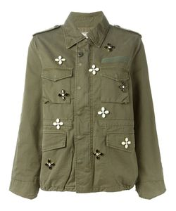 TU ES MON TRESOR | Olive Cotton Crystal Flower Embellished Military Jacket From