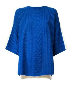 J JS LEE | Cobalt And Cream Alpaca Wool Blend Mix Knit Sweater From Featuring A Ribbed Round Neck A Ribbed Design A Cable Knit Short Wide Sleeves And A Contrasting Rear