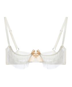 LASCIVIOUS | Ivory Kitty Bra From Featuring Adjustable Shoulder Straps A Bow Detail At The Centre Front Sheer Layering To The Cups And A Rear Hook And Eye Fastening