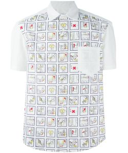 Kit Neale | Multicoloured Cotton Safety Card Shirt From Featuring A Classic Collar A Chest Pocket A Front Button Fastening And Short Sleeves