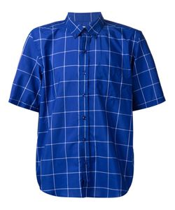 Lucio Castro | Cobalt Cotton Blend Checked Shirt From