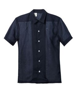 N. Hoolywood | Navy Linen-Cotton Blend Semi Sheer Shirt From N