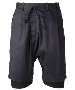 CHAPTER | Navy Cotton Blend Layered Track Shorts From