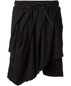 A TENTATIVE ATELIER | Stretch Cotton Asymmetric Draped Drawstring Shorts From
