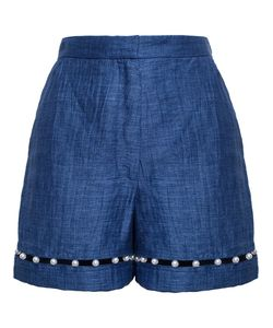 ADAM SELMAN | Crafted From A Linen These Shorts From Feature This Seasons Pearl Embellishment At The Hem