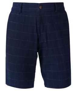 Lucio Castro | Navy Cotton Checked Shorts From