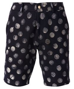 Lucio Castro | Navy Cotton Polka Dot Print Shorts From