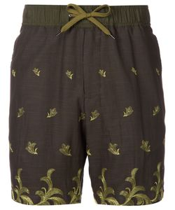 Undecorated Man | Olive Cotton Blend Embroidered Shorts From Featuring An Elasticated Waistband With A Drawstring Fastening Side Pockets And Back Zipped Pockets