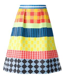 NOVIS | Multicoloured Silk Blend A-Line Jacquard Skirt From