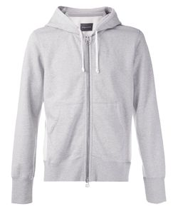 wings + horns | Melange Cotton Terry Hooded Sweater From Wings Horns Featuring A Drawstring Hood A Front Zip Fastening Kangaroo Pockets Wave Knit Side Detail And Flat Locked Seams Throughout
