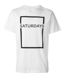 Saturdays Surf Nyc   And Cotton Square Border Logo Print T-Shirt From