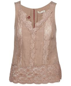Odd Molly | Dusty Silk Jaquard Dareme Tank From Featuring Tonal Lace Panelling To The Front Tonal Lace Trim V-Neck Wide Lace Hem With Scalloped Edging And Key Hole Button Fastening To The Back Of Neckline With Embroidered Trim For Closure