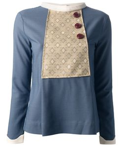 GIADA FRATTER | And Wool Blend Blouse From Featuring A Round Neck A Button Fastening Long Sleeves And A Geometric Pattern Bib