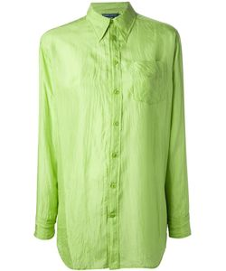 Ralph Lauren Blue | Lime Silk Crinkled Shirt From Label Featuring A Classic Collar A Front Button Fastening Short Sleeves With Button Cuffs A Patch Pocket At The Chest And A Curved Hemline