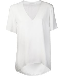 SALLY LAPOINTE | Optic Pebble Crepe Top From Featuring A V-Neck And Short Sleeves