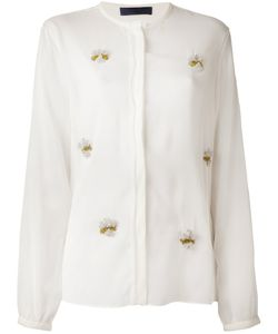 Sharon Wauchob   Silk Blouse From Featuring A Band Collar A Concealed Front Fastening And Sequined Motifs At The Front A Curved Hem And Long Sleeves