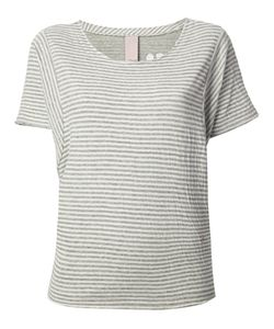+people | Cream And Cotton Striped T-Shirt From Featuring A Round Neck Short Sleeves Vertical Stripes A Colour Embroidered Design At The Back A Loose Fit And A Straight Hem
