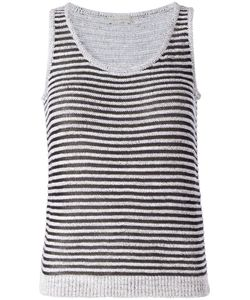 Maison Ullens | And Cotton Blend Sleeveless Top From Featuring A U Neck Horizontal Stripes And A Slim Fit