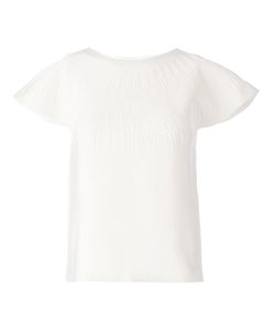 Maison Ullens | Off Silk Blend Round Neck Textured Top From