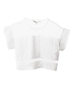 Ohne Titel | Sheer Patterned Mesh Trim Crop Top From