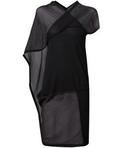 TVSCIA | Cotton And Silk Blend Sheer Panel Asymmetric Top From