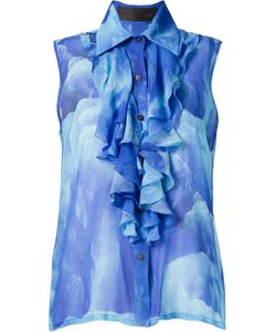 VITORINO CAMPOS | Silk Sleeveless Sheer Blouse From Featuring A Classic Collar A Front Button Fastening Layers Of Frills And A Gelo Print