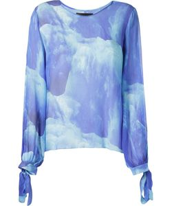 VITORINO CAMPOS | Silk Gelo Print Sheer Blouse From Featuring A Boat Neck Long Wide Sleeves And Tie Fastening Cuffs