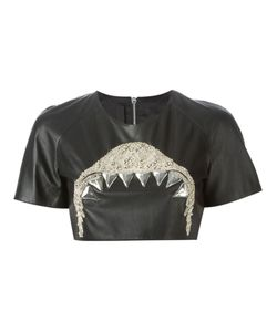 DE TOMASO | Leather Beaded Embroidery Cropped Top From