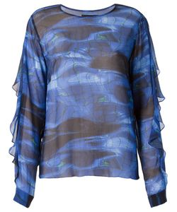 VITORINO CAMPOS | And Silk Piscina Print Sheer Blouse From Featuring A Round Neck Long Sleeves With A Ruffle Detailing