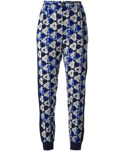 Baumundpferdgarten | And Silk Blend Printed Trousers From Baum Und Pferdarten Featuring An Allover Abstract Printa Navy Side Stripe Detail Jersey Cuffs At The Ankle Jet Pockets At The Back And A Concealed Zip Fastening At The Front