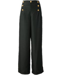 Ralph Lauren Blue | Silk Wide Leg Trousers From Label Featuring A Front Button Placket A High Rise And A Wide Leg