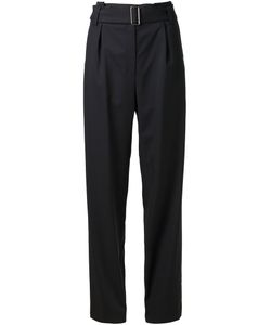JI OH | Navy Wool Blend Belted Straight Leg Trousers From