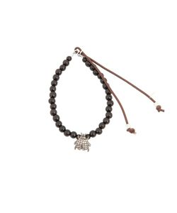 CATHERINE MICHIELS | Ebony Bracelet From Featuring Beaded Design A Contrasting Leather Fastening And A Tone Beetle Charm To The Bottom Embellished With Crystals