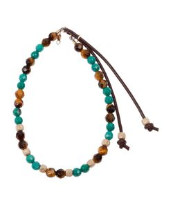 CATHERINE MICHIELS | Turquoise And Tiger Eye Beaded Stone Bracelet From Featuring Contrasting Bead Detail And A Leather Drawstring Fastening With Attachments