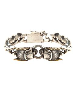 KING BABY | Tone And Tone Sterling Chain Link Bracelet From Featuring Two Skull Charms And A Rear Clasp Fastening