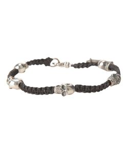 KING BABY | Woven Bracelet From Featuring Skull Charm Detailing A Made In The Usa Embossed Charm And A Hook Fastening