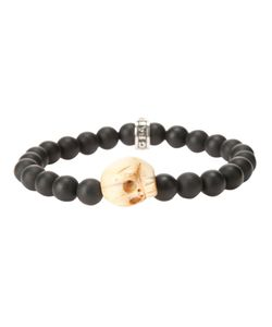 KING BABY | Beaded Bracelet From Featuring Contrasting Skull Charm Detailing A Tone Brand Embossed Charm And A Slip On Design