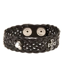 VERY GAVELLO | Leather Flat Weave Bracelet From Featuring A Maltese Cross Essence And A Skull-Head Length 20cm