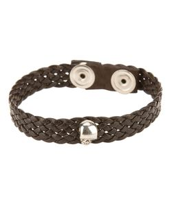 VERY GAVELLO | Leather Flat Weave Bracelet From Featuring A Skull-Head Length 20